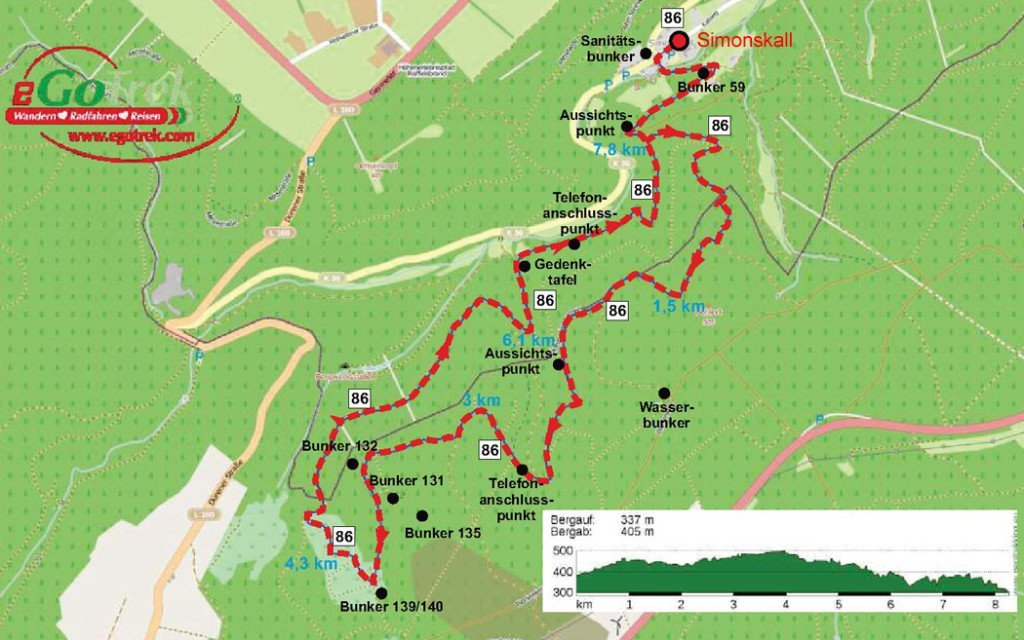 Karte Westwall-Weg